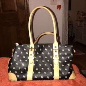 Dooney and Bourke Black and Tan shoulder bag